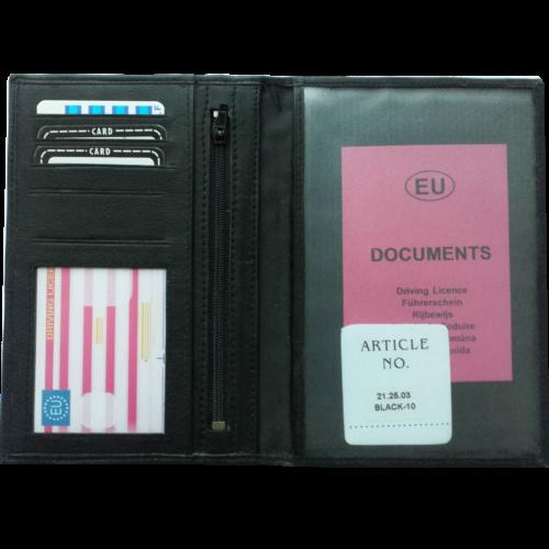 Leren paspoort/rijbewijsportefeuille Zwart